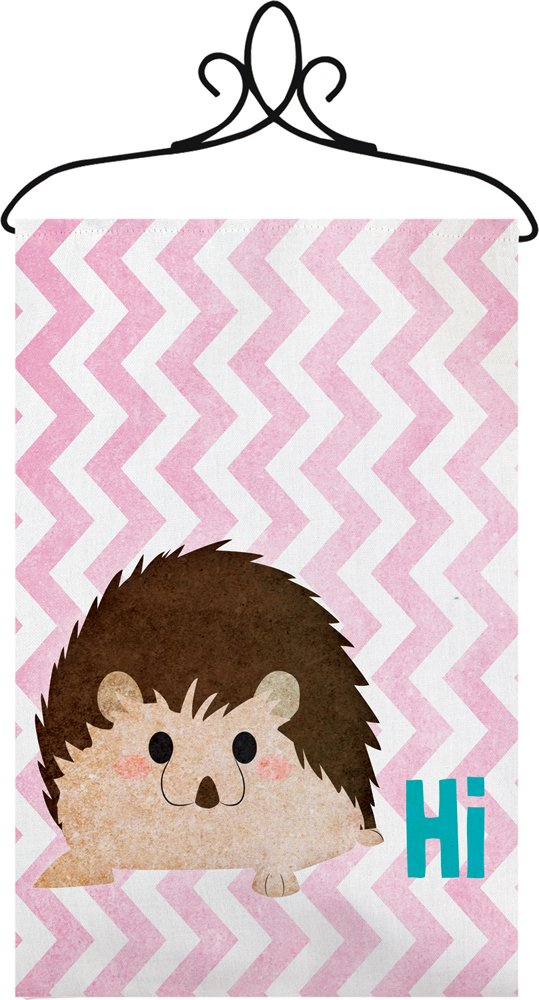 Manual Hi Hedgehog Chevron Nursery Wallhanging Bannerette w/ Rod SWHIHH 18x13'' Pink Blue White Brown