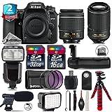 Holiday Saving Bundle for D7500 DSLR Camera + 55-200mm VR II Lens + AF-P 18-55mm + Flash with LCD Display + Battery Grip + Shotgun Microphone + LED Kit + 2yr Warranty - International Version