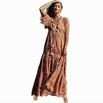 CDCDL Vestido de Mujer - sección Larga - Vestido de Encaje Rosa ...