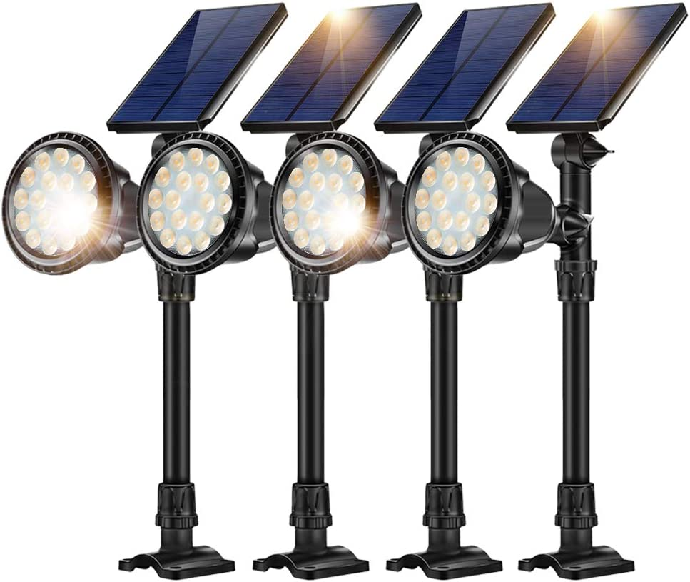 JSOT Solar Outdoor Ground Landscape Lights,Adjustable Solar Powered Spotlights Waterproof Flood Lights with Bright 18 LED Yard Spot Light Wall Mounted Lighting Fixture,Warm White,4 Pack