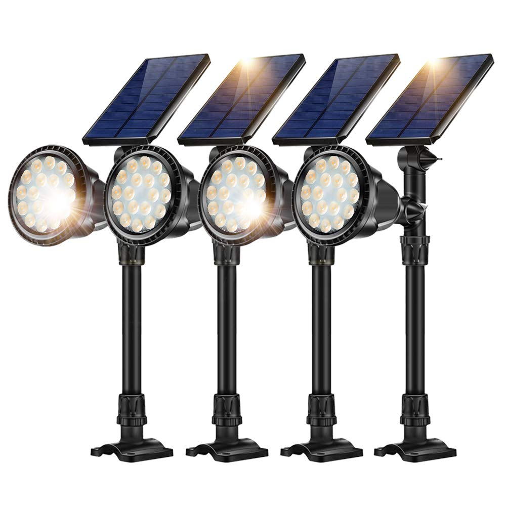 JSOT Solar Outdoor Ground Landscape Lights,Adjustable Solar Powered Spotlights Waterproof Flood Lights with Bright 18 LED Yard Spot Light Wall Mounted Lighting Fixture,Warm White,4 Pack by JSOT