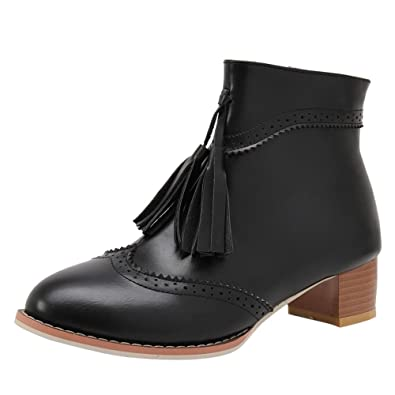 Women's Comfort Zipper Chunky Mid Heel Ankle Boots