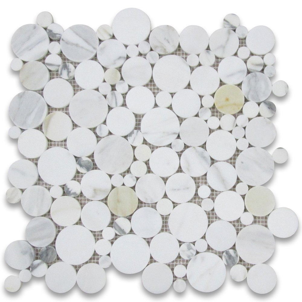 Calacatta Gold Italian Calcutta Marble Bubble Round Mosaic Tile Polished by Stone Center Online
