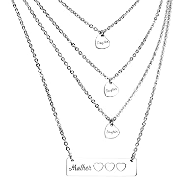 46c87a936c2a1 Amazon.com: ecobuty Mother Daughter Necklace Set Mom Daughter Heart ...