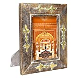 Indian Heritage Wooden Photo Frame 5x7 Mango Wood with Metal Cladding Design in Dark Wood with Whitewash and Golden Finish