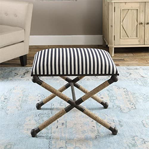 Ruddock 23 3 4 Wide Navy Blue and White Striped Ottoman