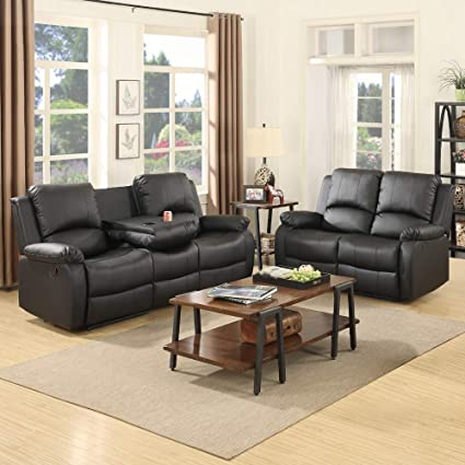 Mecor Bonded Leather Recliner,Living Room Reclining Sofa Furniture(2 Seat+3  Seat, Black)