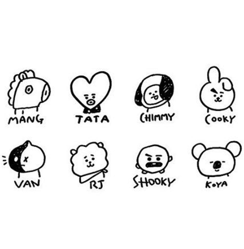 Jhion Kpop Bts Bt21 Cute Dibujos Animados De Peluche De Felpa Juguete Muñeca Almohada Cooky Shooky Tata Bangtan Niños Manta Almohada Sofá Cojín