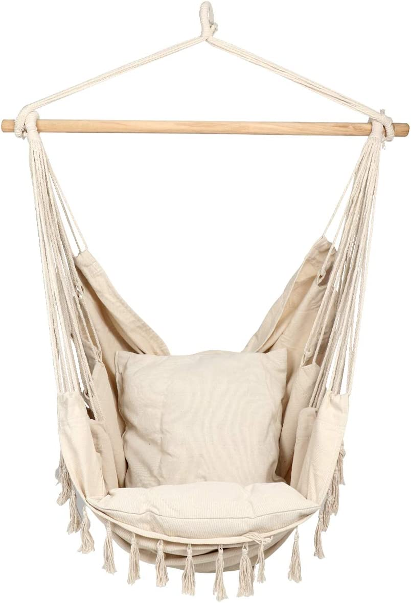 ARAD Hammock Patio Chair, Hanging Porch Swing with Cushions, Indoor or Outdoor Seat