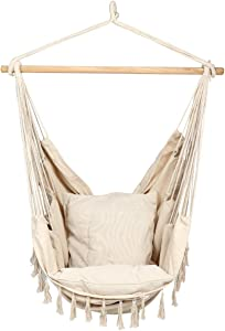 E EVERKING Hammock Chair, Hanging Rope Swing Seat for Indoor Outdoor, Soft Durable Cotton Canvas, 2 Cushions Included, Large Reading Chair with Pocket for Home, Bedroom, Patio, Porch (A-White)