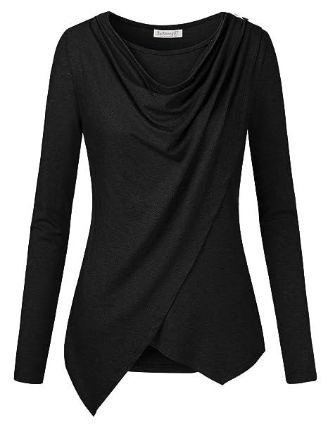 6eea4e03df824 BAISHENGGT Women s Long Sleeve Button Plus Size Asymmetric Wrap Tunic Top  S-XXXL  Amazon.in  Clothing   Accessories