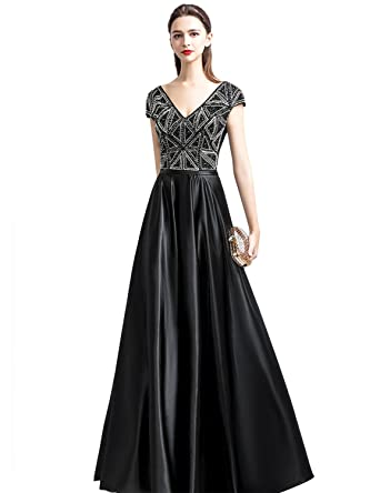 Sarahbridal Women Sexy V Neck Long Evening Dresses Gowns Bridesmaid Dresses with Beading Black Prom Dress