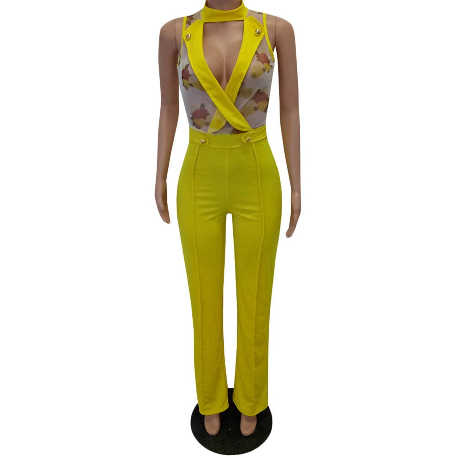 ylovego jumpsuits V-Neck Long Jumpsuit Club Yellow S
