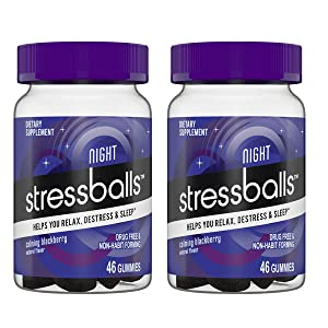 Stressballs Night Sleep Vitamins Gummy! 46 Gummies BlackBerry Flavor! Formulated with Melatonin, Ashwagandha and Chamomile! Helps You Relax, Destress and Sleep! Choose Your Pack! (2 Pack) sleeping pills or otc sleep aids - 61YlOhdTKZL - Sleeping pills or OTC sleep aids – risks and side effects