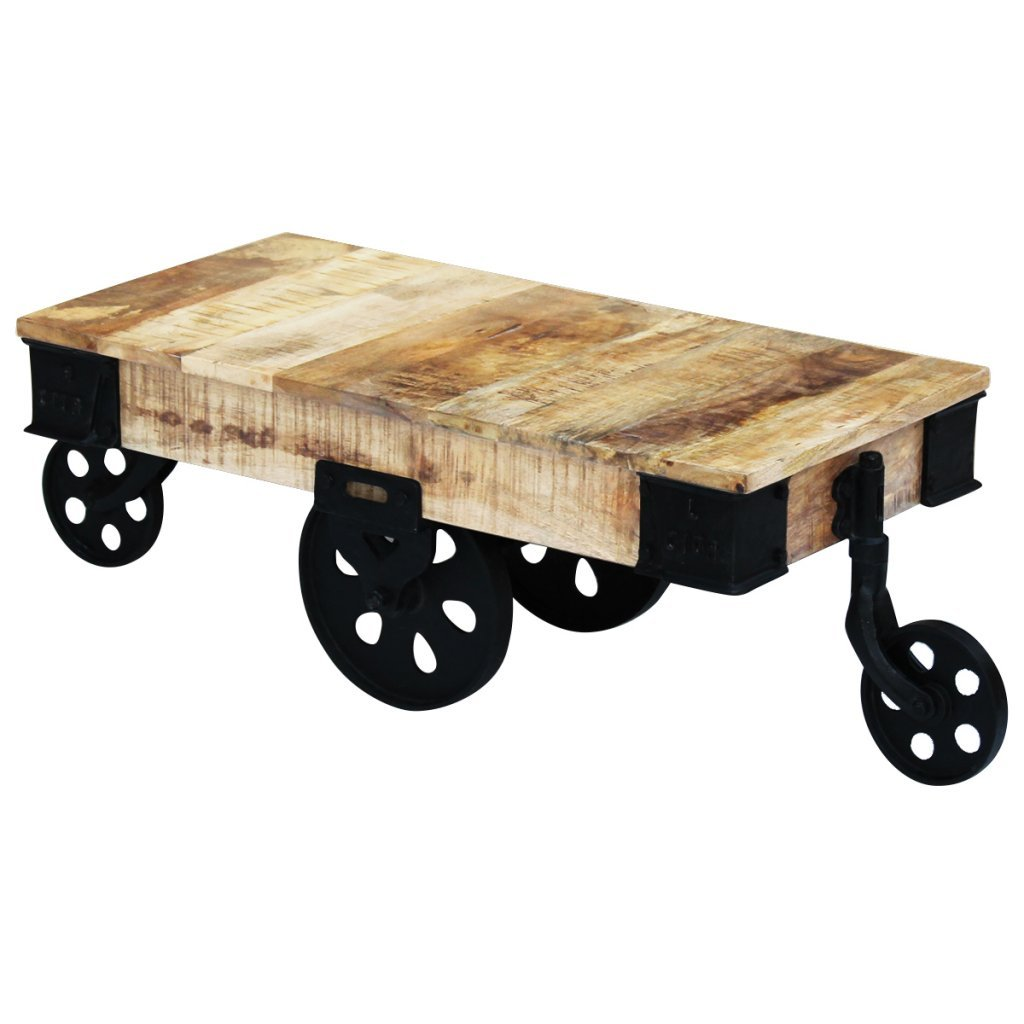 Festnight Vintage Retro Cart Coffee Table with Wheels Rough Mango Wood