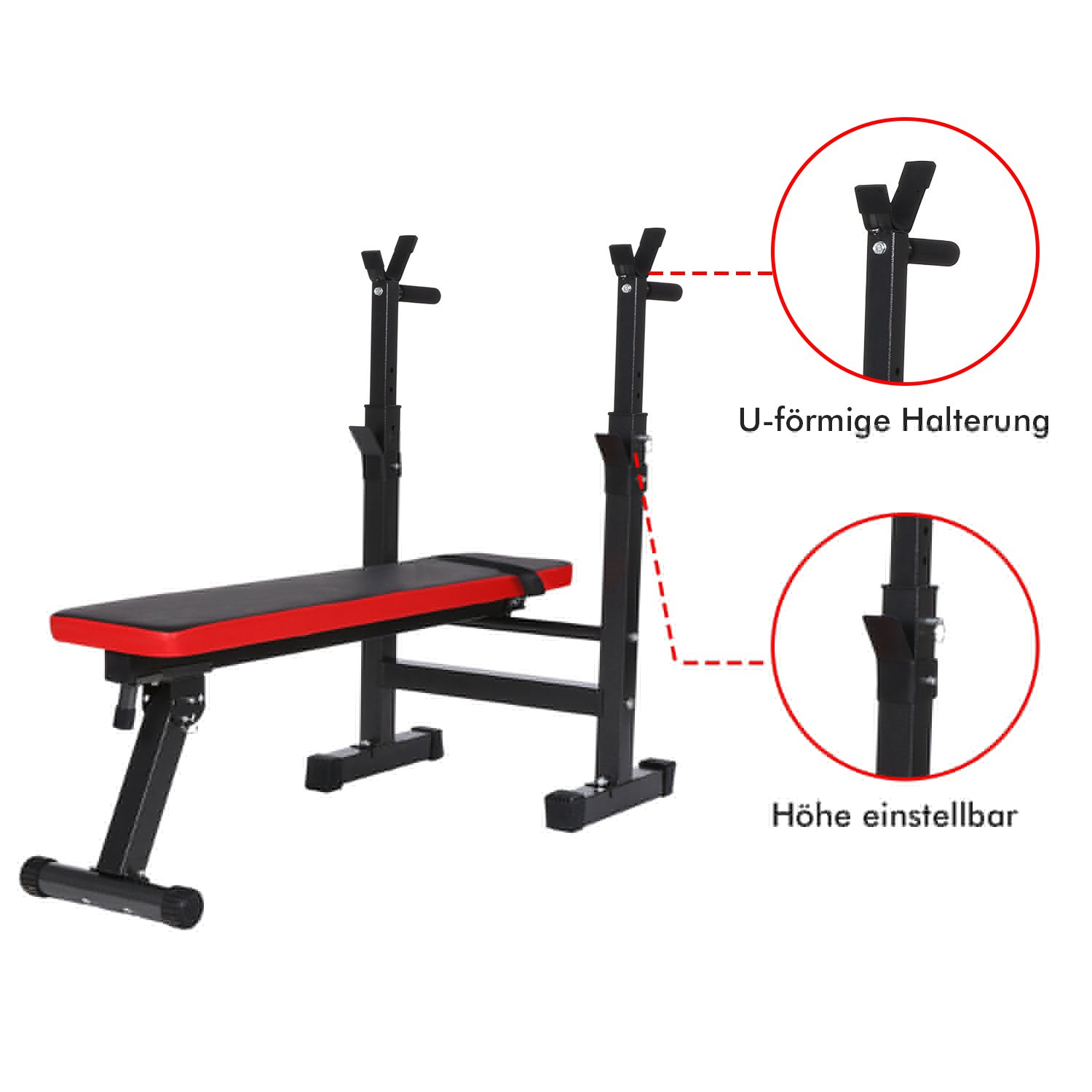 Folding Weight Bench With Adjustable Barbell Rack, Flat Incline Bench