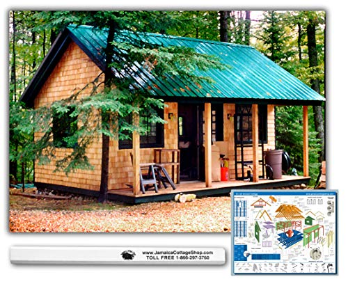 Timber House - Timber Frame Post and Beam Cabin Plans - 16x20 Vermont Cottage Option A - Step-By-Step DIY Plans