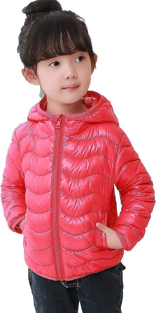 AugusWu Unisex Boys Girls Packable Hoodie Wavy Line Down Coats Puffer Jacket Down02