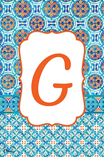 Custom Decor Moroccan Tile - Letter G - Embroidered Monogram - Garden Size, 12 Inch X 18 Inch, Decorative Double Sided Flag - Copyright, Licensed, Trademarked by (Custom Decor Monogram Flag)