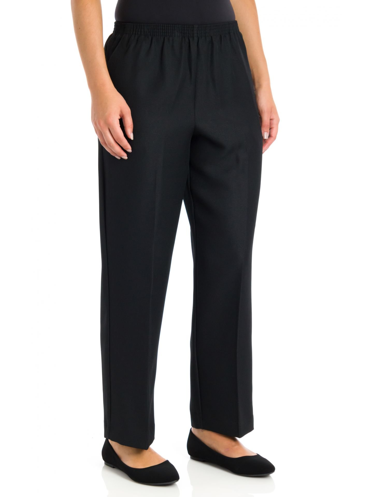 Alfred Dunner Petite Basic Polyester Pull-On Pants 09300, Black, 18P