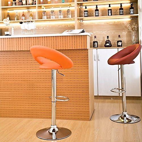Duhome 0314 Lot de 2 tabourets de Bar à Hauteur réglable en Cuir synthétique Blanc