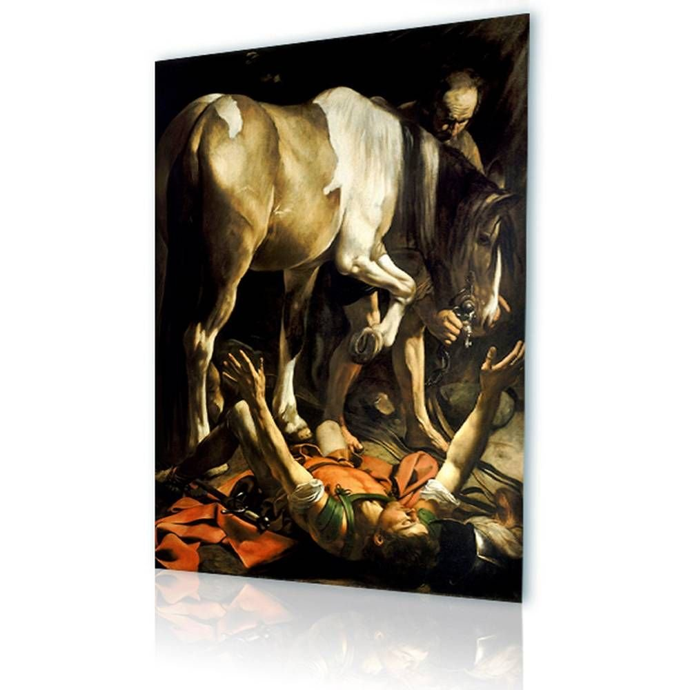 Alonline Art - The Conversion of Saint Paul Caravaggio Framed Stretched Canvas (100% Cotton) Gallery Wrapped - Ready to Hang | 32''x43'' - 81x108cm | Framed Art for Living Room for Home Decor Giclee