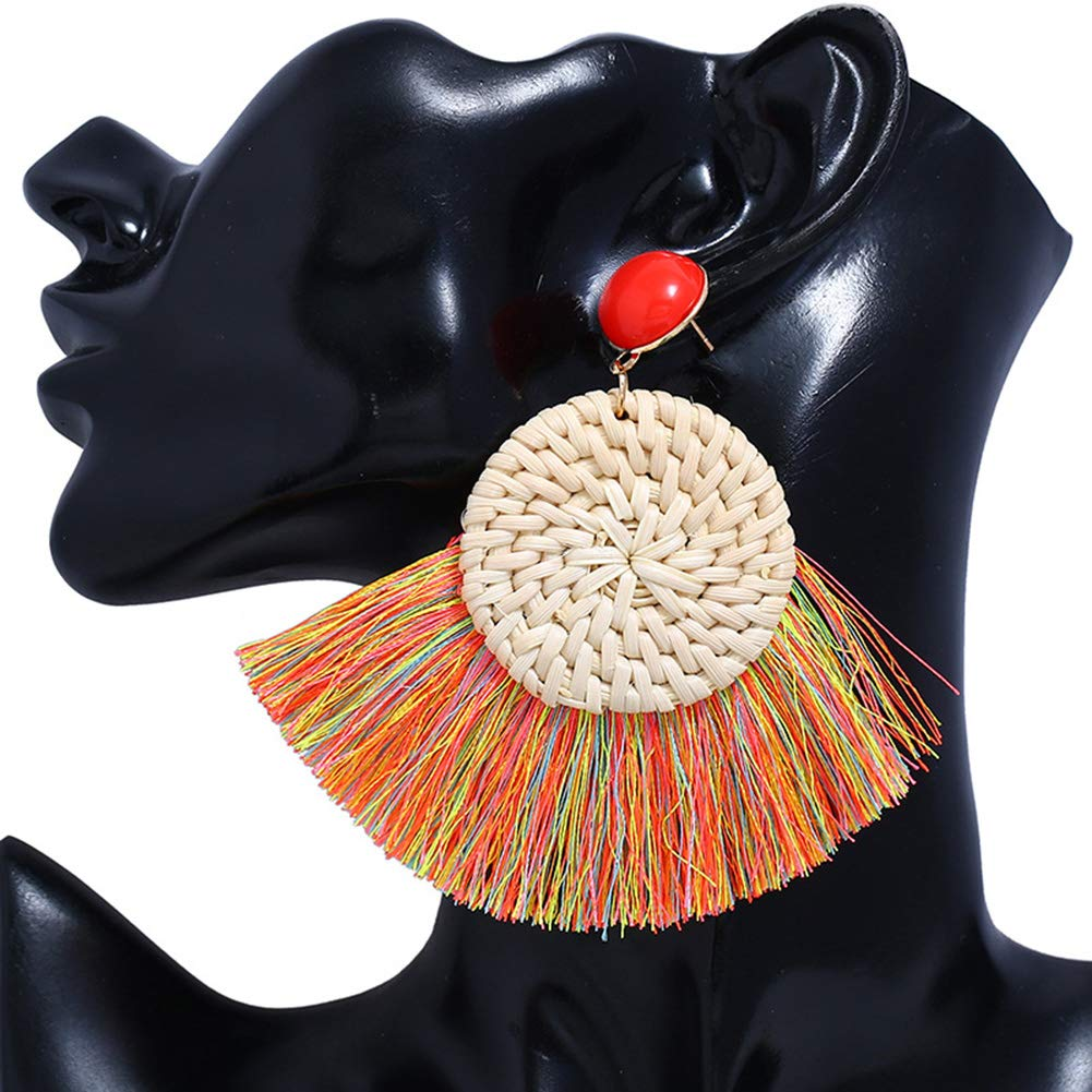 VONRU Wood Hoop Dangle Earrings Bamboo Ethnic Earrings for Girls Indian Style for Women Boho Handmade Straw Braided Drop Lightweight Geometric Statement Earrings