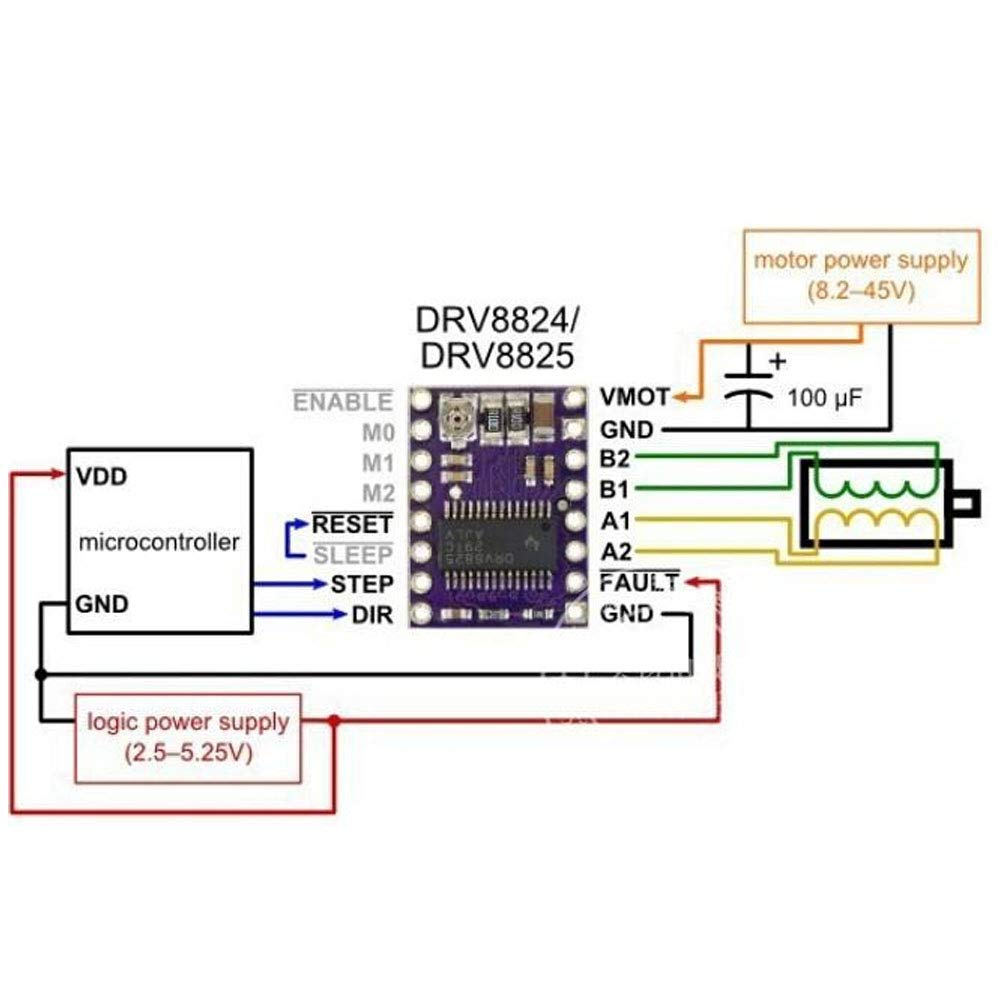 2 unidades M/ódulo controlador de motor paso a paso DRV8825 con disipador de calor para impresora 3D Rampas prerap A4988