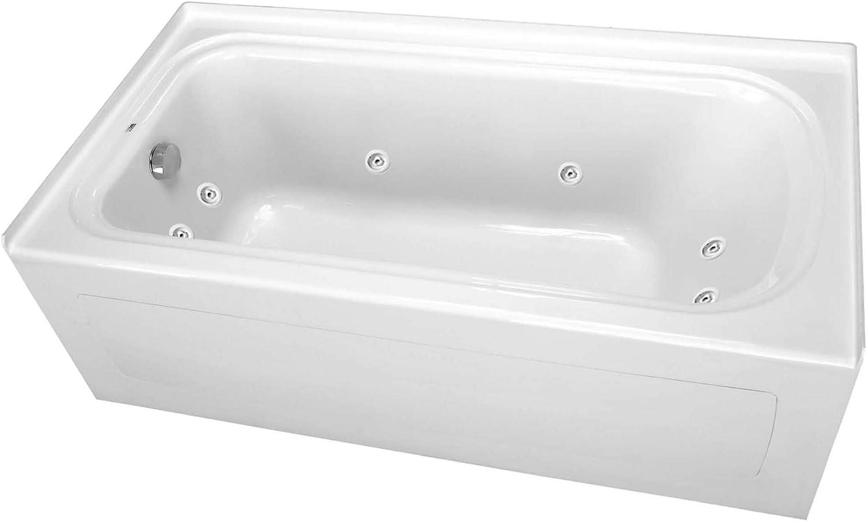 "PROFLO PFW7236ALSKWH PROFLO PFW7236ALSK 72"" x 36"" Alcove 8 Jet Whirlpool Bath Tub with Skirt, Left Dr"