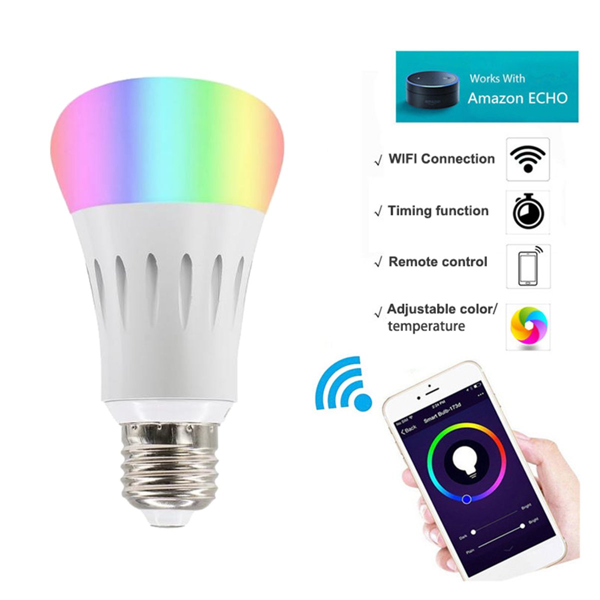 2Pack Smart Bulb Compatible with Alexa,Google Home,Wifi Smart Light Bulb,Dimmable,Timer Switch,Multicolored,No Hub Required,Remote Control,Scene Mode,Wake Up Lights Function by Buycitky (Image #3)