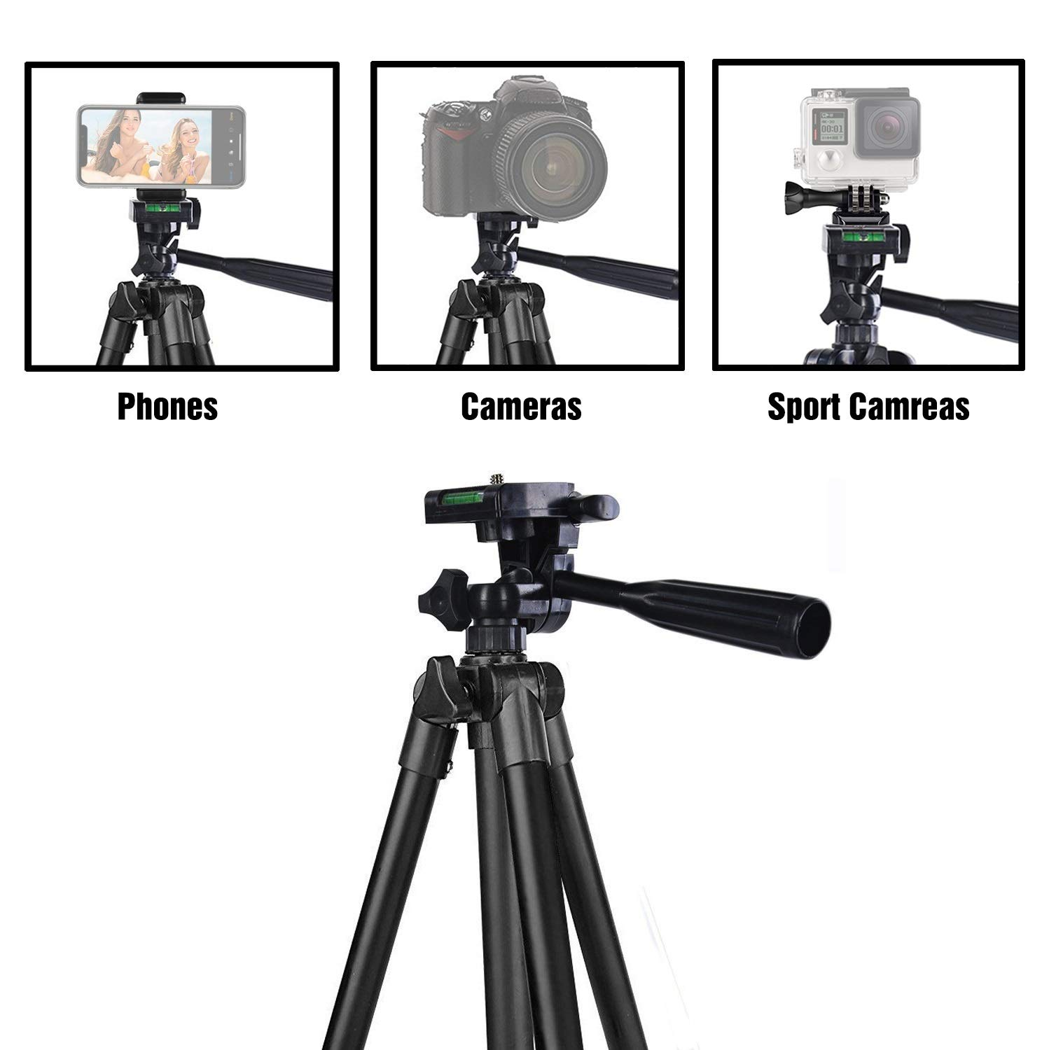 Black 42 Inch 106cm Aluminum Lightweight Tripod for iphone//Samsung//Huawei Smartphone Carrying Bag and Gopro Mount Hitch Phone Tripod Camera with Bluetooth Remote Control