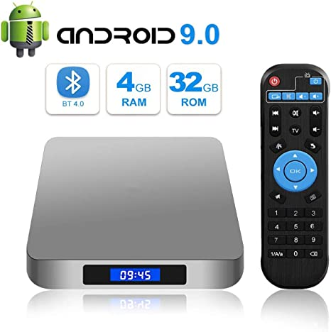 DOOK Android 9.0 TV Box 4GB RAM 32GB ROM, AI One TV Box Android Rockchip 3328