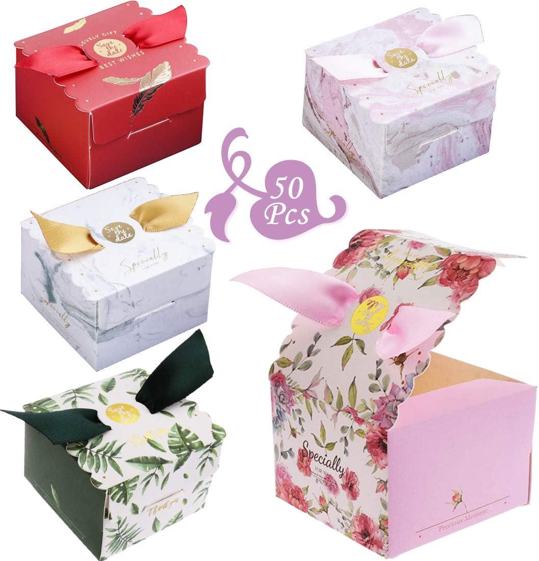 Recuerdos para Invitados de Boda Bautizo Fiesta Cumplea/ños Puntos 5 colores 50 Piezas Caja de Regalo Dulces,Favores de Boda Cajas de Az/úcar