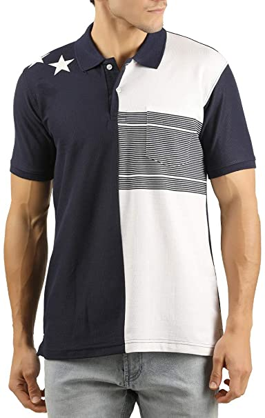 cc32a12f501 WEXFORD Men s Half Sleeve Polo Neck Striped Cotton Casual T-Shirt  Amazon.in   Clothing   Accessories