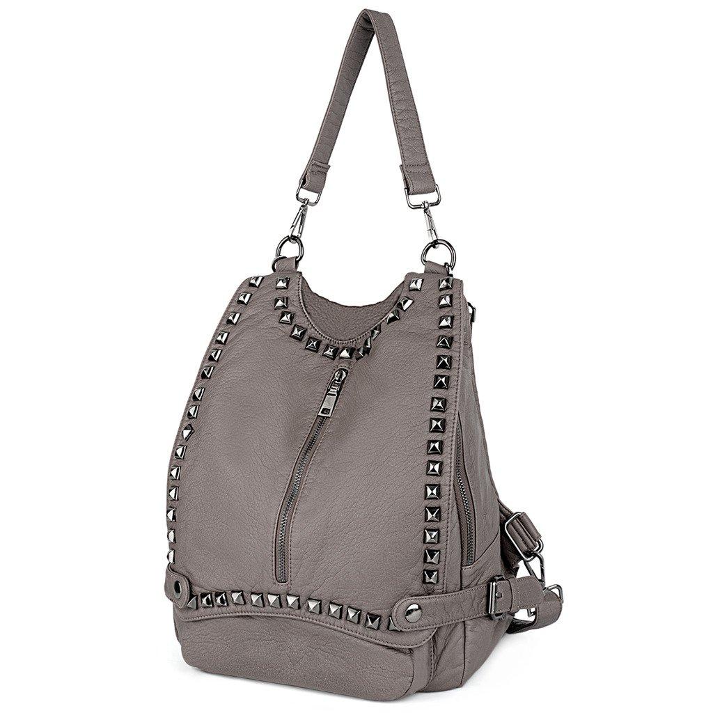 UTO Women Backpack Purse PU Washed Leather Rivet Studded Convertible Ladies Rucksack Shoulder Bag C Khaki.