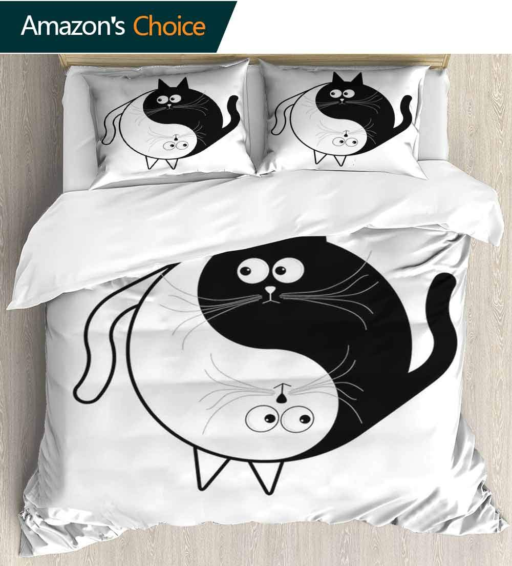 carmaxs-home Ying Yang 3D Bedding Quilt Set, Cute Cats Cuddle Hugging Unity Ying Yang Sign Cartoon Animals Feng Shui Decorative 3 Piece Bedding Set with 2 Pillow Sham(68'' W x 85'' L) Black White