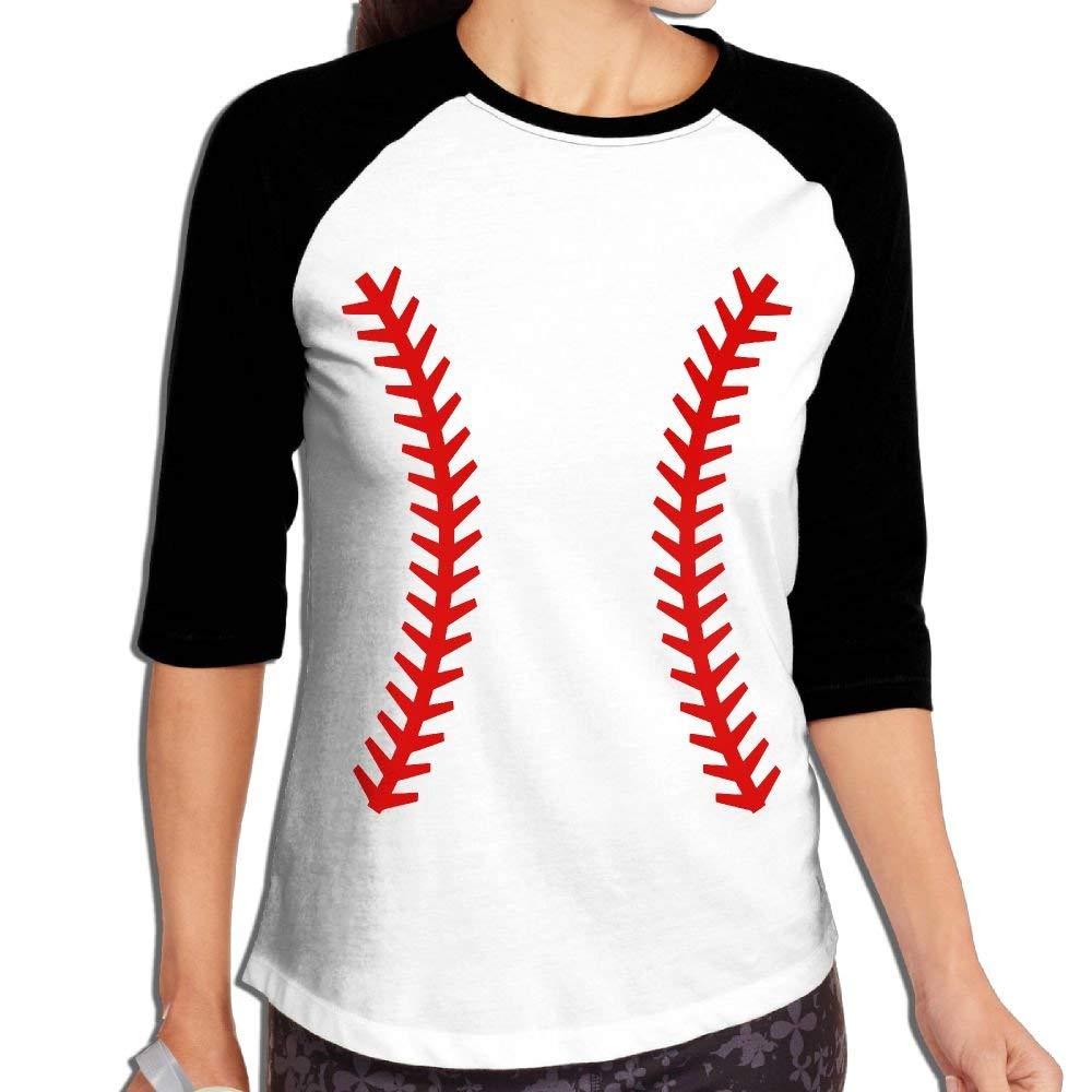 329c075c35a Amazon.com  Womens Baseball Laces 3 4 Sleeve Raglan Baseball Tee  Clothing