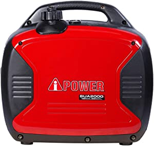 A-iPower SUA2000i 2000-Watt Portable Inverter Generator Gasoline-Powered, Red