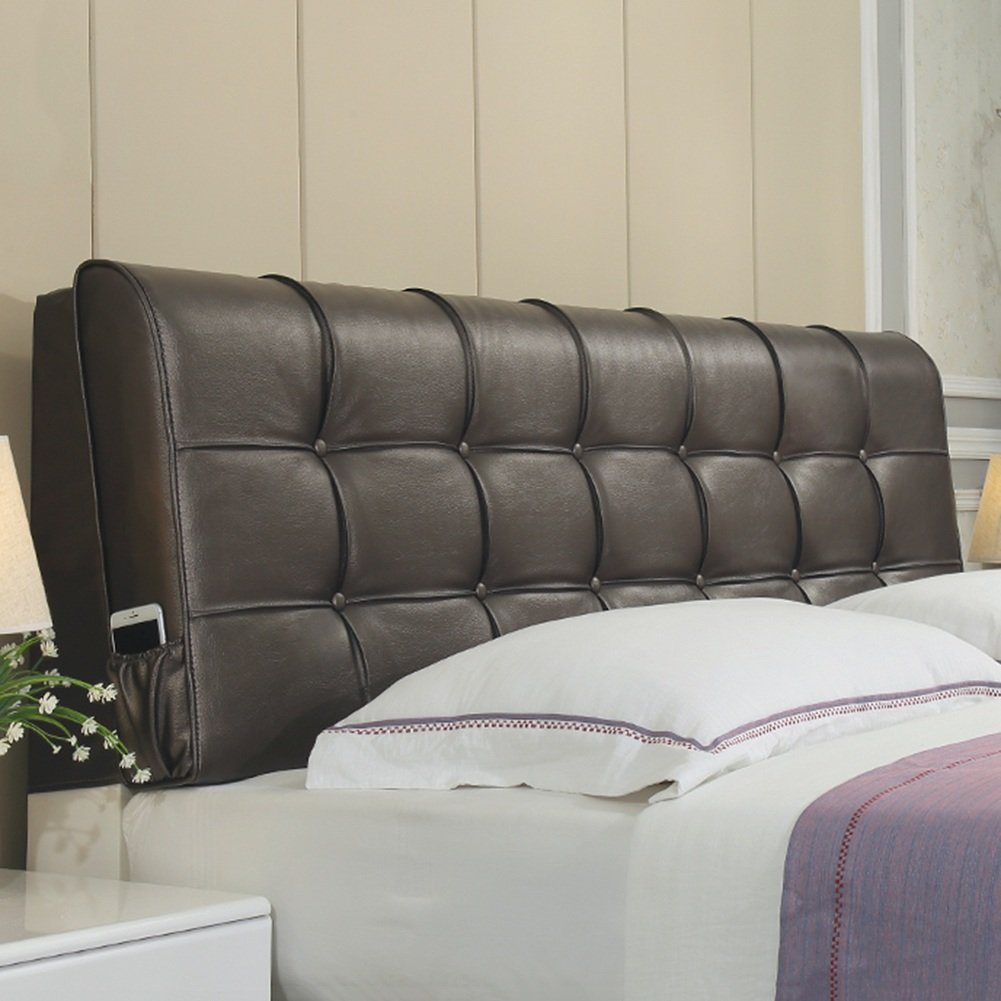Brown-With headboard 185CM RFJJAL Headboard Bedside Cushion Pads Large Back Multifunction Pillow No Deformation Washable, 4 colors, 8 Sizes Optional (color   Brown-with headboard, Size   185CM)