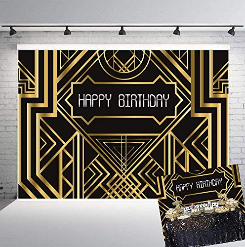 (Art Studio 7x5FT Photo Background Happy Birthday Party Decor Photography Backdrops Great Gatsby Theme Photo Studio Props Booth Black and Golden Banner)