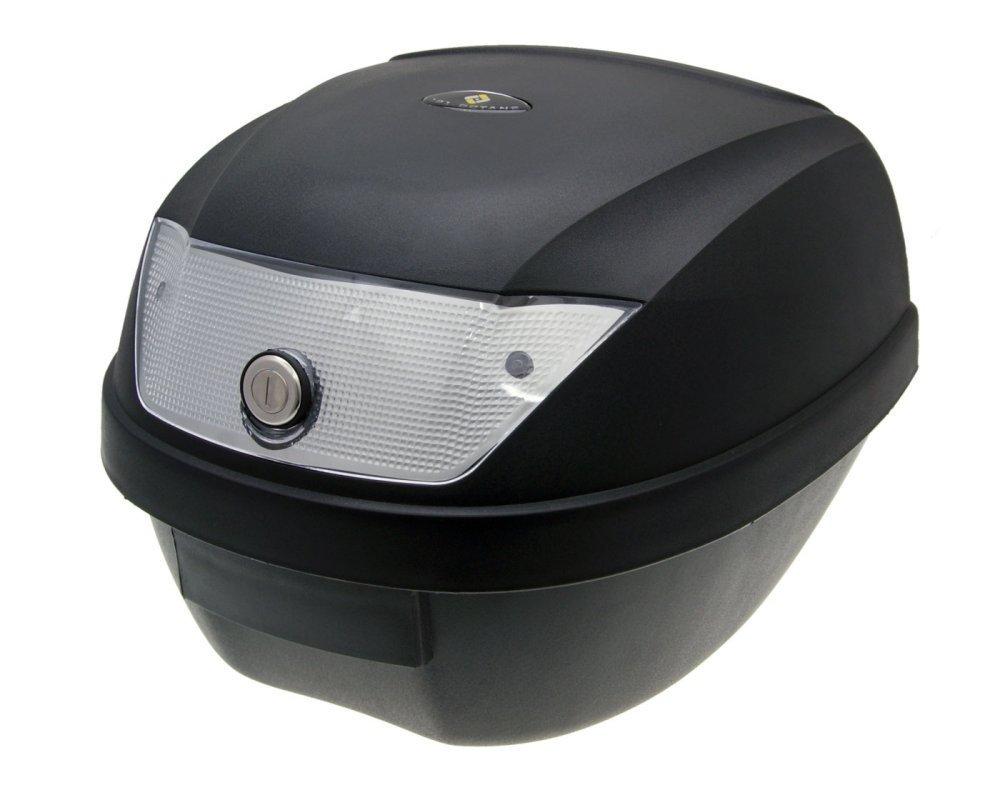 Top Case Koffer schwarz 28L Reflektor wei/ß