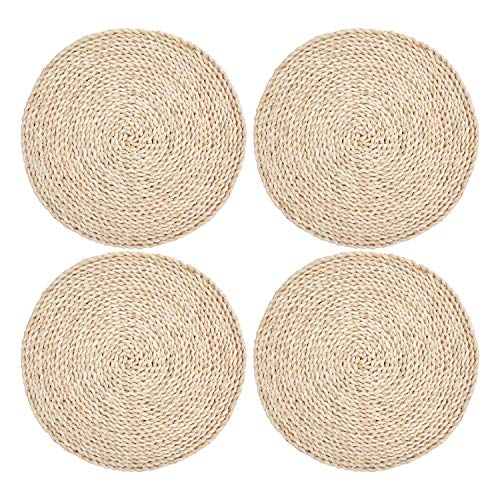 wellhouse Corn Straw Woven Placemats Round Rattan Placemats Braided Dining Table Mats Natural Handmade Table Placemat Insulation Pad (4, Round 15.7