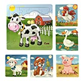 Meshion Wooden Jigsaw Puzzles With Storage Tray Farm Animals Set Kids Toys Game For Toddler,Girls,Boys,Pack Of 6(Dog,Pig,Sheep,Cow,Cork,Goose)