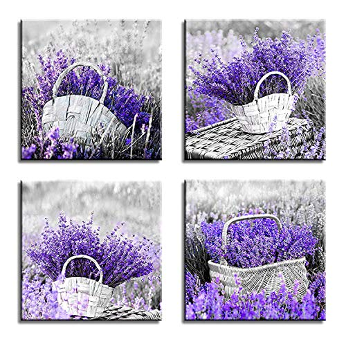 4 Piece Office Wall - Canvas Wall Art for Living Room Bedroom Bathroom Wall Decor for Bedroom Decor Kitchen Artwork Canvas Prints Purple Lavender Painting 12