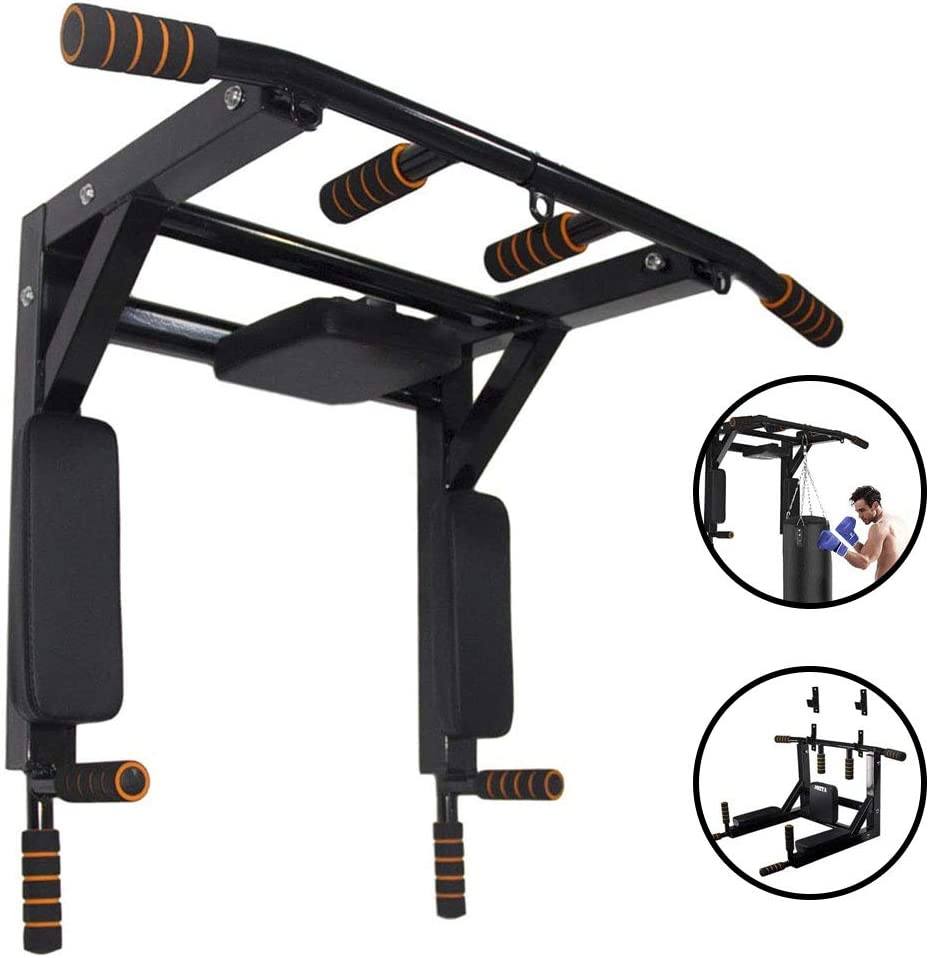Wall Mounted Pull Up Bar Chin Up bar Multifunctional Dip Station for Indoor Home Gym Workout, Power Tower Set Training Equipment Fitness Dip Stand Supports to 440 Lbs