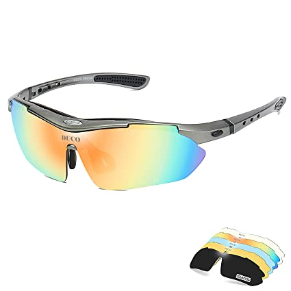 189ac02aed DUCO Polarized Sports Sunglasses with 5 Interchangeable Lenses UV400  Protection Sports Sunglasses for Cycling Running Glasses