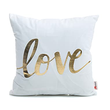 Monkeysell Home Pillowcases Love Pillows Flannel Decorative Throw Pillows Cover for Couch Bed Sofa Christmas 18 inches
