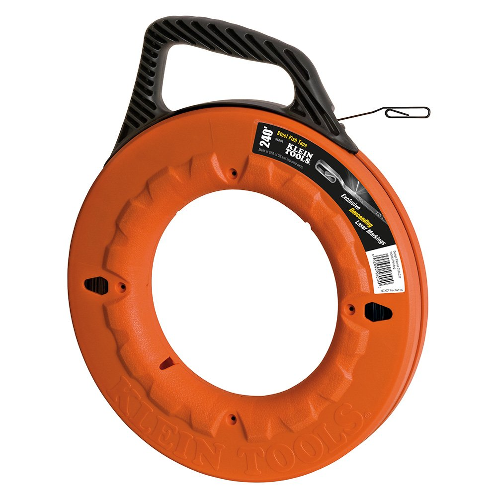 Fish Tape, 240-Foot, Great for Long Runs and Heavy Duty Wire Pulls, Laser Etched for Conduit Measuring Klein Tools 56004