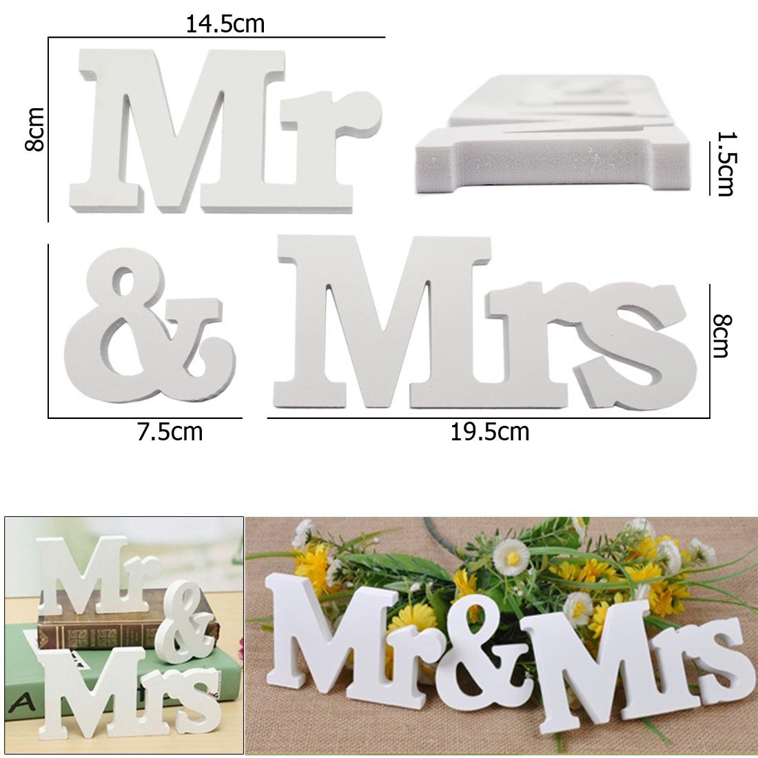 JJOnlineStore 1 Set Mr & Mrs Wooden Letters Wedding Party Home Room Decoration Sign Top Table Present Decor Photo Booth Present