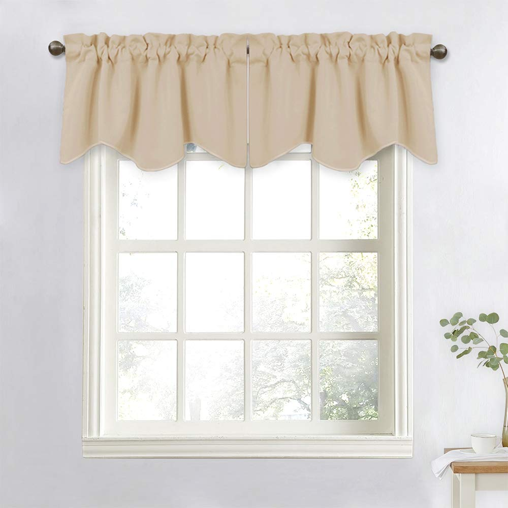 Amazon com nicetown window valances for sliding door blackout window curtain 52 inch by 18 inch rod pocket dining room tier valances biscotti beige